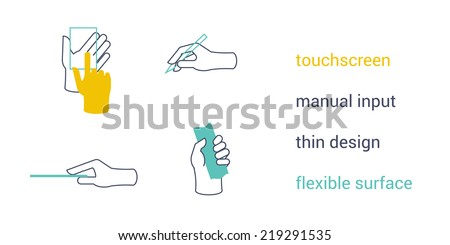 Feature icons of mobile device interface. Touch-screen, manual input, thin design, flexible surface - stock vector