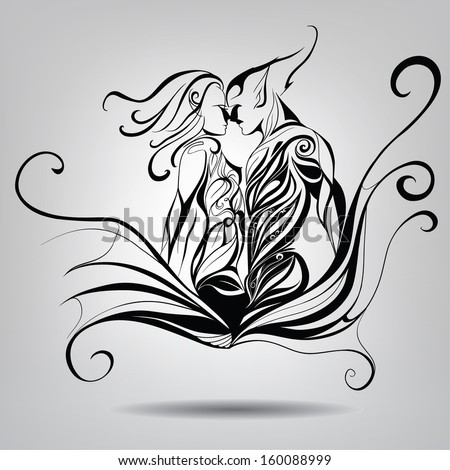 Features figures of two lovers with elements vegetation.Vector illustration