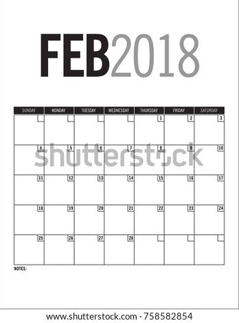 february 2018 blank calendar page dates stock vector 758582854 shutterstock
