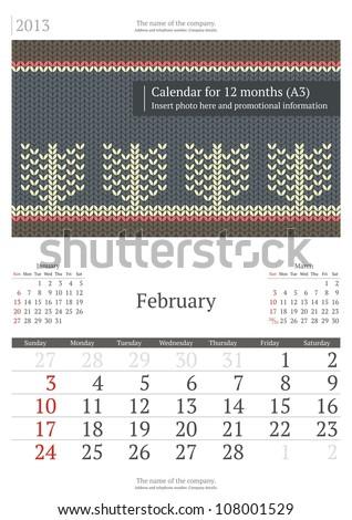 February. 2013 calendar. - stock vector