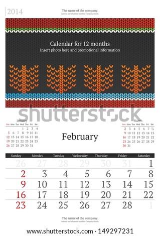 February. 2014 Calendar.  - stock vector