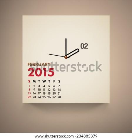 February 2015 Calendar Clock Design Vector  - stock vector