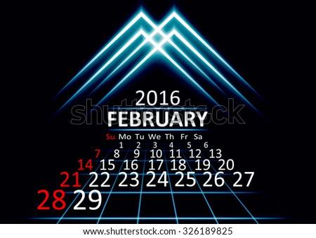 February 2016 calendar dark technology 3d style abstract background. Vector Illustration. - stock vector