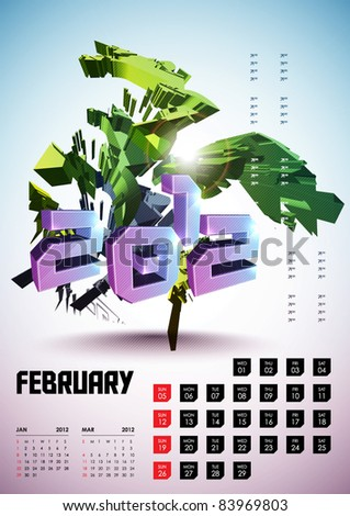 February - Calendar Design 2012 - stock vector