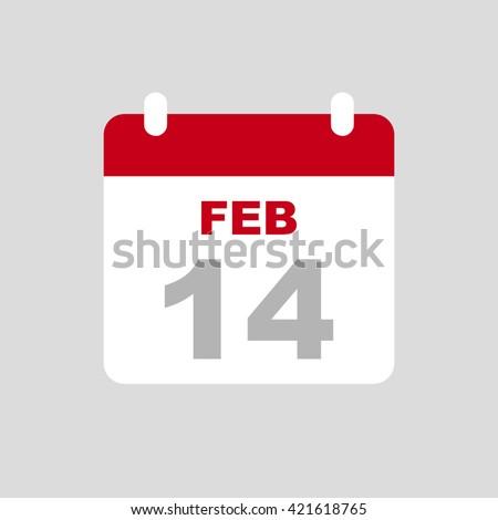FEBRUARY 14,calendar icon. - stock vector
