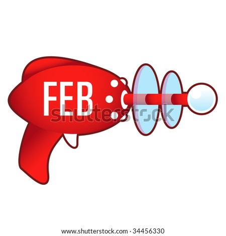 February calendar month icon on laser raygun vector illustration in retro 1950's style.