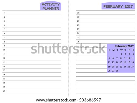 February 2017 Calendar Template Monthly Planner Stock Vector