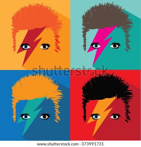 FEBRUARY 8, 2016: David Bowie pop art illustrative editorial. EPS 10 vector. - stock vector