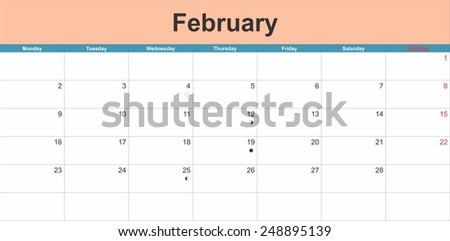 February 2015 planning calendar. Illustration - stock vector