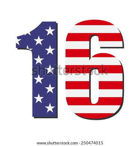 February 16. Presidents day. Flag USA. Flat vector. - stock vector