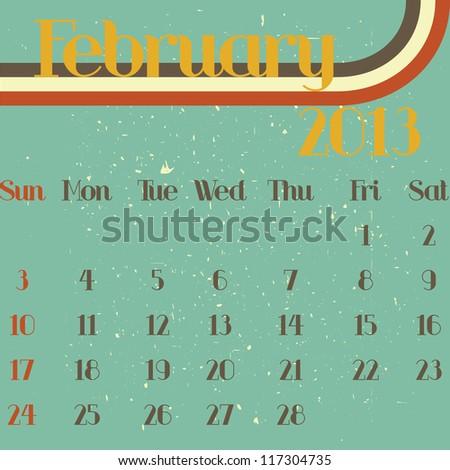 February 2013 retro vector illustration calendar template design - stock vector