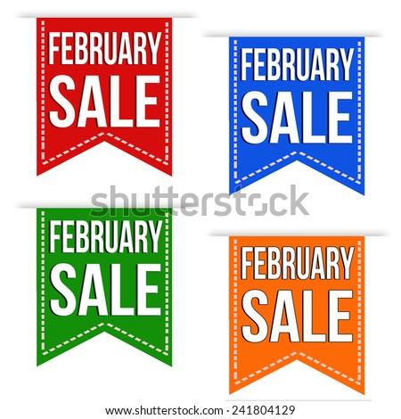 February sale banner design set over a white background, vector illustration - stock vector