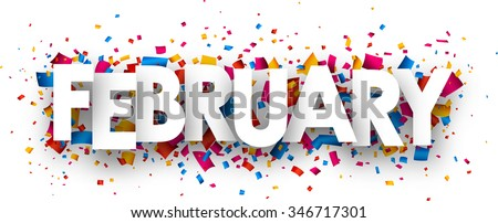 February sign with colour confetti. Vector paper illustration. - stock vector