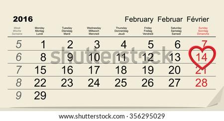 February 14, 2016 Valentines Day calendar. Illustration in vector format - stock vector