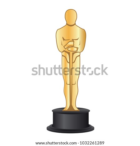 February 19, 2018: Vector illustration of a gold figurine Oscar. Academy Award. Oscar statuette