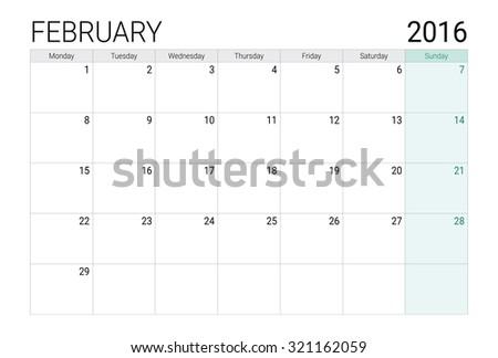 Febuary 2016 calendar (or desk planner) - stock vector
