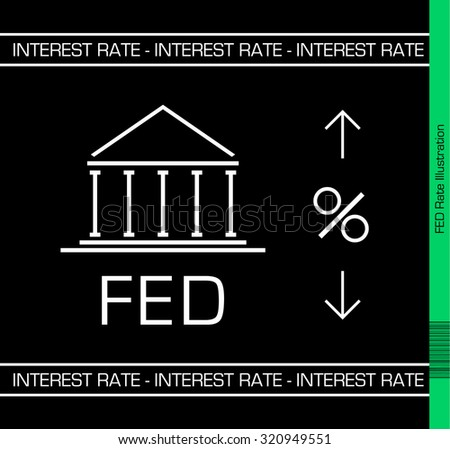 Fed upcoming interest rate decision Illustration. Black Background.  - stock vector