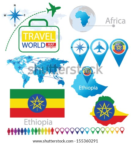 Federal Democratic Republic of Ethiopia. flag. World Map. Travel vector Illustration. - stock vector