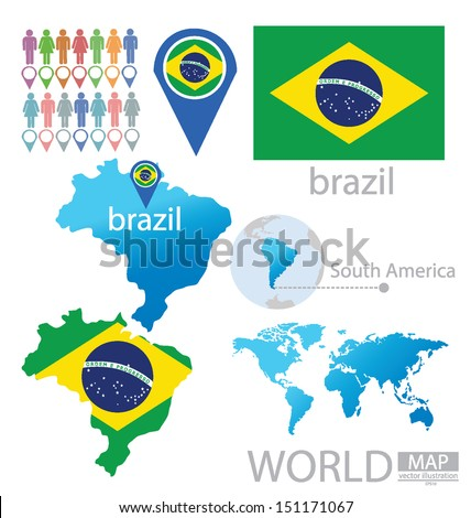 Federal republic brazil flag south america stock vector 151171067 federal republic of brazil flag south america world map vector illustration gumiabroncs Images