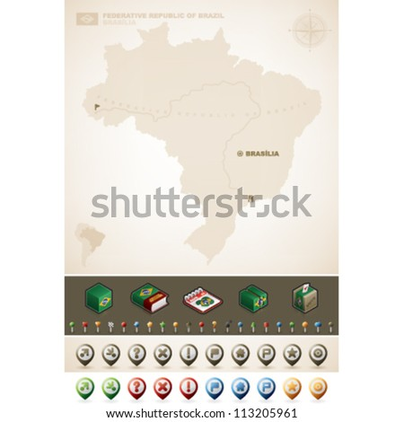 Federative Republic of Brazil and North America Maps, plus extra set of isometric icons & cartography symbols set - stock vector