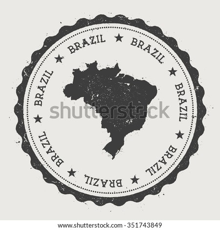 Federative Republic of Brazil. Hipster round rubber stamp with Brazil map. Vintage passport stamp with circular text and stars, vector illustration - stock vector