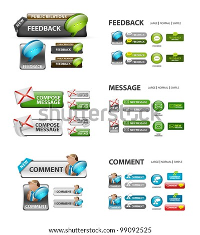 feedback, and message icons / collection of vector icons and buttons - stock vector