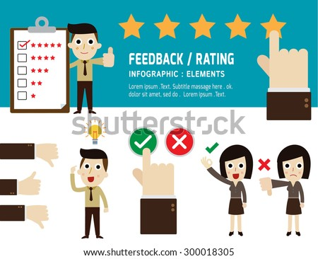 feedback and rating on customer service. infographic elements. business concept. flat icons vector illustration. - stock vector