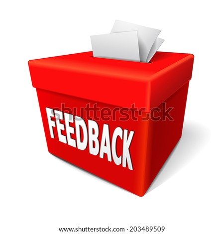 feedback box words on the red box for collecting employee or customer ideas, thoughts, comments, reviews, ratings, suggestions or other communication or information - stock vector