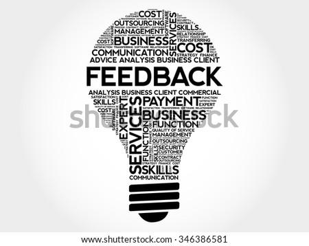 Feedback bulb word cloud, business concept - stock vector