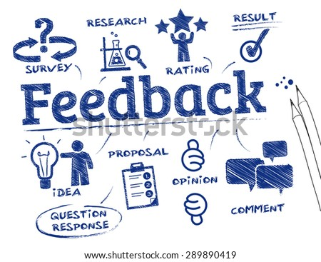 Feedback. Chart with keywords and icons - stock vector
