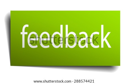 feedback green paper sign isolated on white