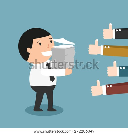 Feedback-People give the man thumbs-up for his good work - stock vector