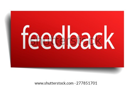 feedback red paper sign on white background - stock vector