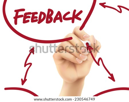 feedback word written by hand on a transparent board - stock vector