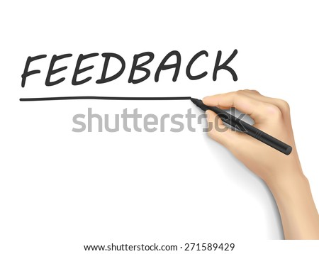 feedback word written by hand on white background - stock vector