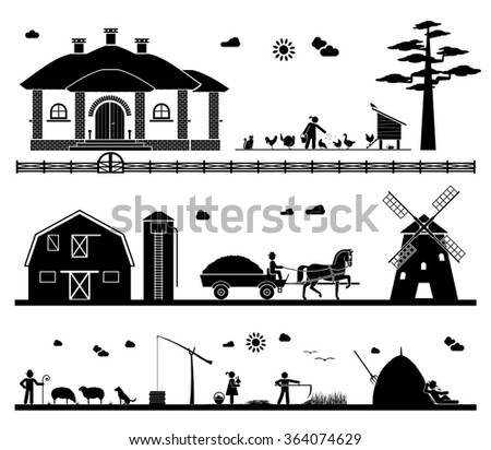 Feeding domestic animals, transporting crops with horse drawn wagon to a windmill, grazing sheep, taking water out of the well, mowing, resting in the field. Agriculture icons. - stock vector
