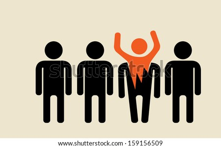 feel free to be different from crowd majority - stock vector