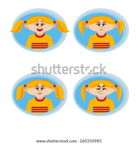 Feelings and emotions girl  - stock vector