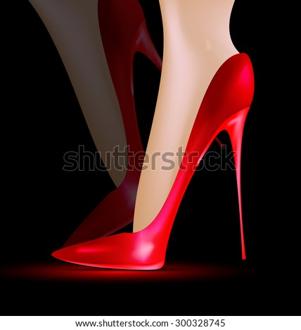 Feet in the red shoes - stock vector