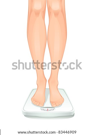 feet on weighing scales - stock vector