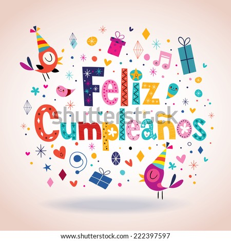 feliz cumpleanos happy birthday spanish card stock vector, Birthday card