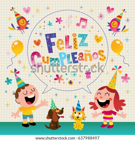 Feliz cumpleanos happy birthday spanish kids stock vector feliz cumpleanos happy birthday in spanish kids greeting card bookmarktalkfo Images