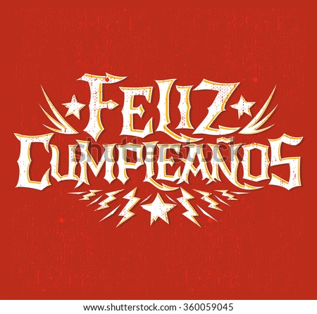 feliz cumpleanos happy birthday spanish text stock vector, Birthday card