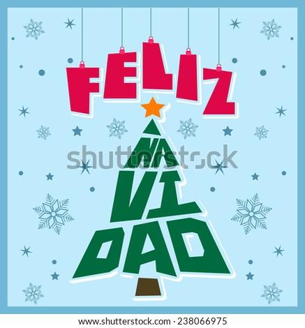 Feliz Navidad - Happy Christmas Spanish text - tree shape Christmas lettering - stock vector