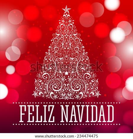 Feliz navidad - Merry Christmas spanish text card - vector  fantasy background - stock vector