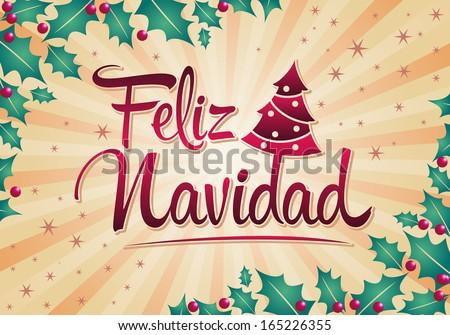 Feliz Navidad - Merry Christmas spanish text - Vector christmas tree - stock vector