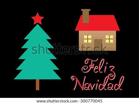 Feliz Navidad - Merry Christmas spanish text. Vector Illustration - stock vector