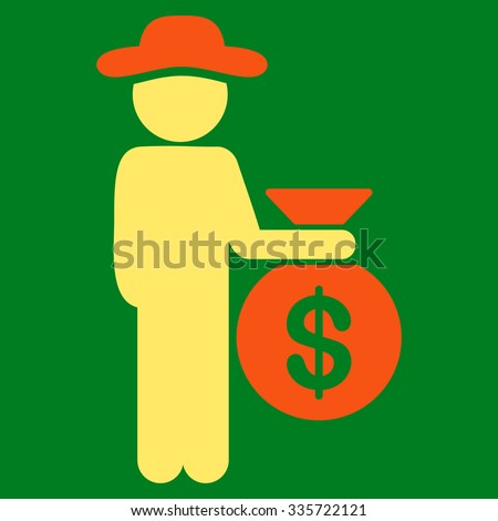 Fellow Investor vector icon. Style is bicolor flat symbol, orange and yellow colors, rounded angles, green background. - stock vector