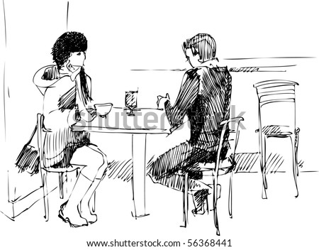 fellow with duvushkoy at the table - stock vector