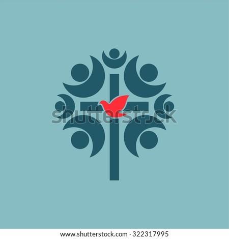 Fellowship, church, membership, cross, dove, church community, community, choir - stock vector